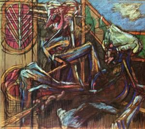 Caduta (partic.), 1964, pastello su carta, 70x61 cm