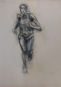 Di corsa, 2000, matita e carbone su carta, 38x27 cm