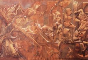 Il Carro di Milano, 1973-74, olio su tela, 170x280 cm, Tortona, collezione privata