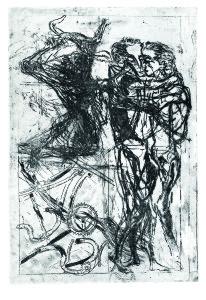 L'abbraccio dei fratelli, 1966, acquaforte acquatinta, 49x34 cm