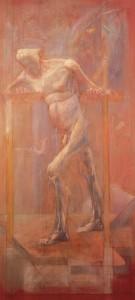Mio padre, 1973-1975, olio su tavola, 207x100 cm