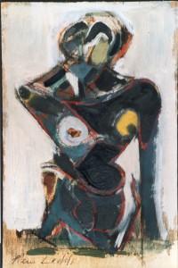 Seno giallo, 2001, olio su compensato, 20x13 cm