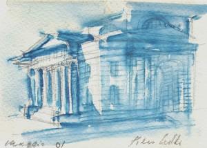 Casello, 2001, matita e acquarello su carta, 10x15 cm