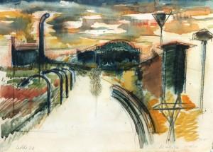 Seveso Icmesa, 1976, carbone e acquarello su carta, 25x35 cm