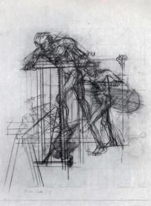 Studio per mio padre, 1973, carbone su carta, 57x43 cm