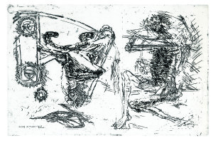Vacca e ciclista, 1966, acquaforte, 32x48 cm