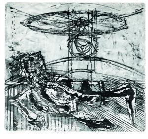 Caduta, 1966, acquaforte acquatinta, 43x47 cm