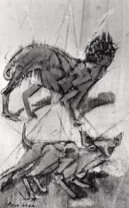 De natura et differentiis XII, 1983, tecnica mista su legno, 37x23 cm
