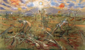 Il taglio degli alberi, 1977, olio su tela, 30x50 cm