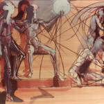 La Ragione fulmina l'Ignoranza e la Superstizione, 1987, olio su legno, 60x80cm