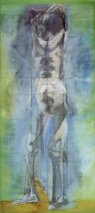 S. Sebastiano, 1973, olio su tavola, 207x100 cm