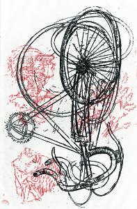 Bici, 1966, acquaforte a colori, 50x32 cm