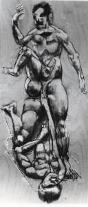 De natura et differentiis XIII, 1983, tecnica mista su legno, 51x23,5 cm