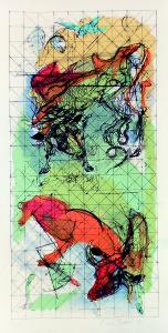 Vacche scalcianti, 1973, litografia, 70x34 cm