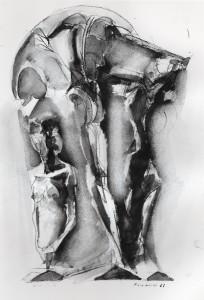 Bella testa, 1983, inchiostro su carta