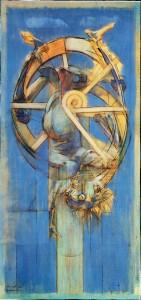 Giangiacomo Mora, 1973, olio su tavola, 207x100 cm