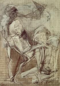Compianto bianco, 1973, matita e tempera su tela, 71x51 cm