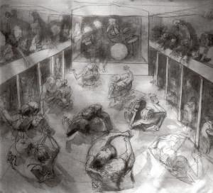 Il ballo alla SOMS, 2003, tempera su tela, 200x250 cm