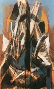 Trofeo di attrezzi, 1983, olio su legno, 37x23 cm