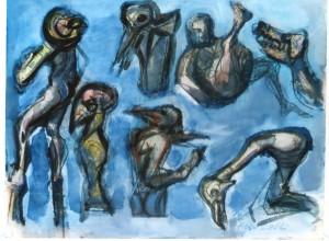 Bestiario, s.d., tecnica mista su carta, 24x31 cm