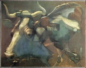Vacca che cammina, 1974, olio su tela, 64x80 cm