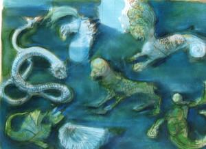 Acquario III, 2005, acquarello e pastello su carta, 58x80 cm