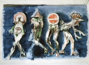 Caricature, s.d., matita e acquarello su carta, 60x89 cm
