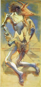 Capraio (trittico), 1974-75, olio su tavola, 173x83 cm