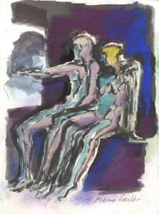 Due figure sedute, s.d., tecnica mista su carta, 19x14 cm