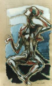 Pasifae, 1990, carbone e tempera su carta, 44x27 cm