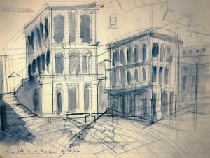 Arengario, 1973, matita e acquarello su carta, 24x32 cm
