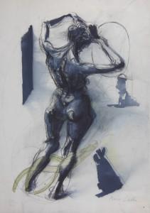 Donna si acconcia, 2000, tecnica mista su carta, 38x26 cm