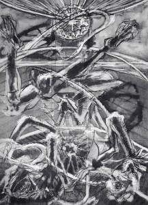 La caduta del campione, 1965, olio su tela, 175x120 cm