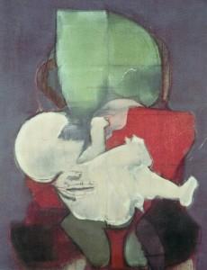Maternità rosso verde, 1970, olio su tela, 100x80 cm