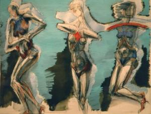 Indossatrici, 1991, tempera su carta, 44x60 cm