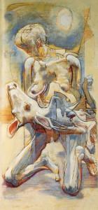 Mungitrice (trittico), 1974-75, olio su tavola, 173x83 cm
