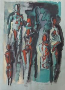 Personaggi, s.d., tecnica mista su carta, 41x29 cm,