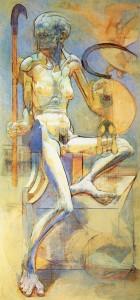 Bifolco (trittico), 1974-75, olio su tavola, 173x83 cm