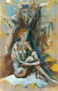 Chiara, 1991, carbone e tempera su compensato, 37x23 cm