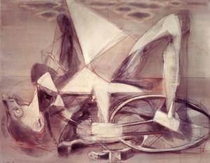 Il Pantografo, 1973, olio su tela, 90x110 cm
