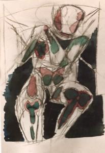 Figura a placche, 1992, carbone e inchiostro su carta, 35x25 cm