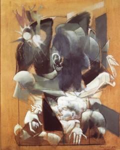 Madre-Sole-Radici, 1975, olio su tela, 108x80cm