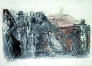 Un angolo di Fiumana, 2006, carbone e acquarello su carta, 50x70 cm