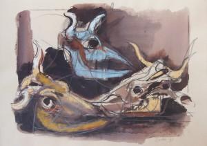 Bucrani, 1993, tecnica mista su carta, 25x35 cm