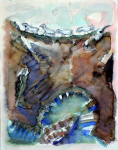 Il gregge si specchia, s.d., matita e acquarello su carta, 41x32 cm