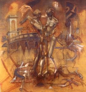 Ballo all'Arena, 1976, olio su tela, 108x100 cm