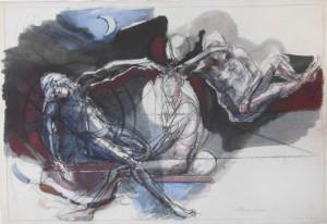 Desaix e Luna, 1993, tecnica mista su carta, 29,5x43,5 cm