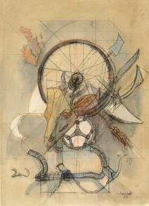 Trofeo ciclistico, 1973, matita e acquarello su carta, 50x35 cm