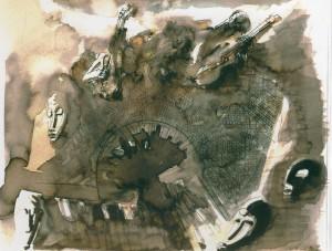 Il porto dal cielo, 2006, tecnica mista su carta
