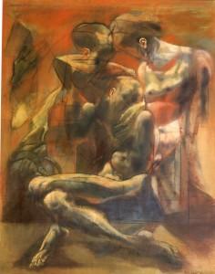 Esodo, 1976, olio su tela, 100x80 cm